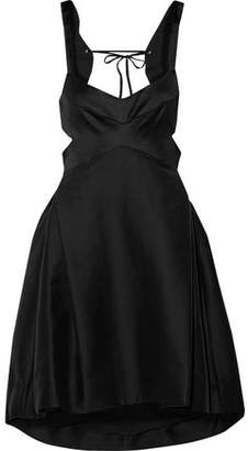 Halston Cutout Paneled Satin And Pleated Cotton And Silk-blend Dress