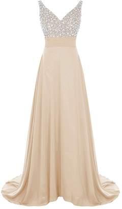 Loffy Long V-neck Beaded Evening Bridesmaid Dress