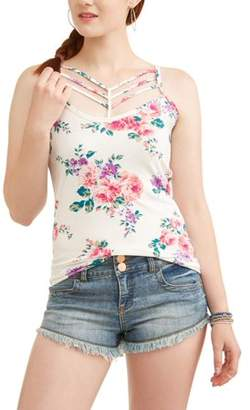 Eye Candy Juniors' Caged Front Floral Printed Peached Cami
