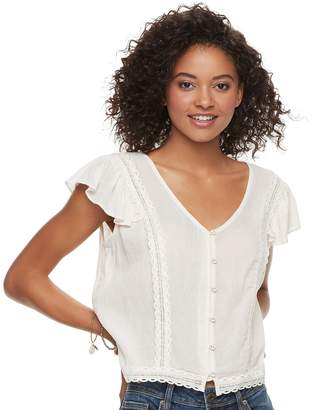 American Rag Juniors' Lace Button Front Top