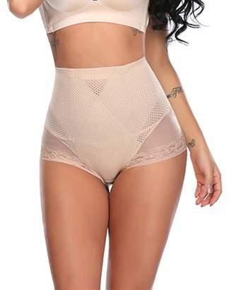 f0eb58bc30f Qikeswim Womens Body Shaper Panty High Waist Tummy Control Mesh Lace  Underwear Butt Lifter