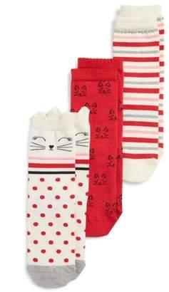 Tucker + Tate Kitty Dot 3-Pack Crew Socks