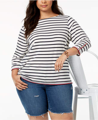 Tommy Hilfiger Plus Size Striped Top, Created for Macy's