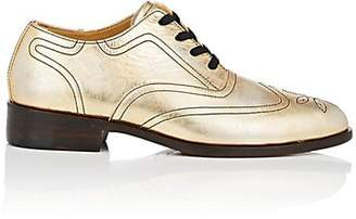 Esquivel WOMEN'S DISTRESSED METALLIC LEATHER WINGTIP OXFORDS - GOLD SIZE 7