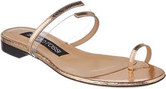 Sergio Rossi Karen Metallic Leather Slide Sandal