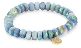 Sydney Evan 14K Yellow Gold, Pavé Diamond& African Opal Happy Face Beaded Bracelet - Blue