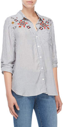 Velvet Heart Embroidered Striped Shirt