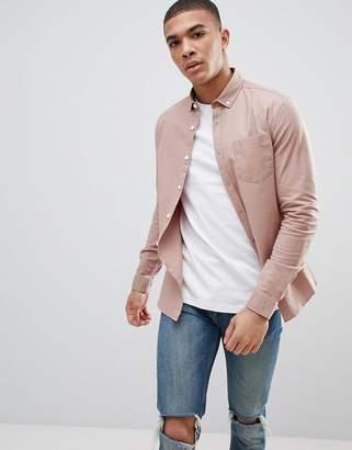 Asos DESIGN casual slim oxford shirt in natural