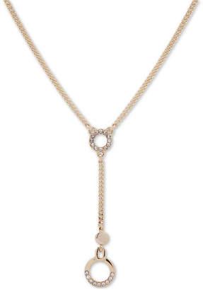 "DKNY Gold-Tone Crystal Circle Lariat Necklace, 16"" + 3"" extender"