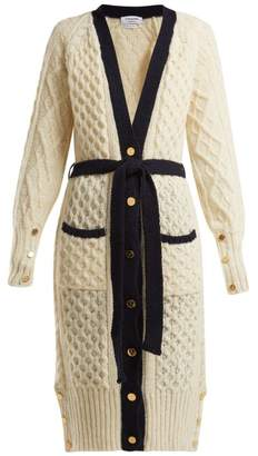 Thom Browne - Cable Knit Wool Blend Cardigan - Womens - White