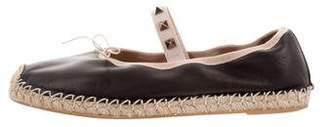 Valentino Leather Rockstud Espadrilles