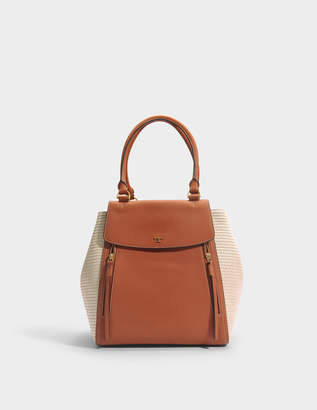 Tory Burch Half-Moon Straw Tote Bag in Natural and Classic Tan Straw