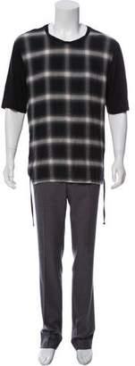 Helmut Lang Plaid Drawstring T-Shirt