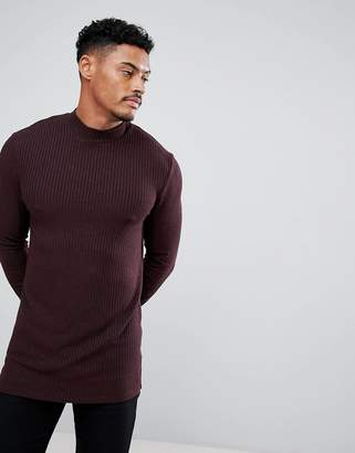 Asos DESIGN Longline Muscle Long Sleeve T-Shirt With Turtleneck In Knitted Jersey Rib In Oxblood