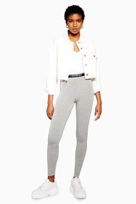 Topshop Womens Grey Branded Elastic Leggings - Grey Marl