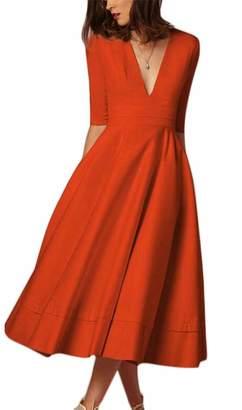 Pcutrone Women Elegant Pocket V-Neck 3/4 Sleeve Swing Pleated Midi Dresses M