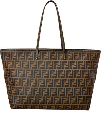 Fendi Brown Zucca Coated Canvas Roll Tote