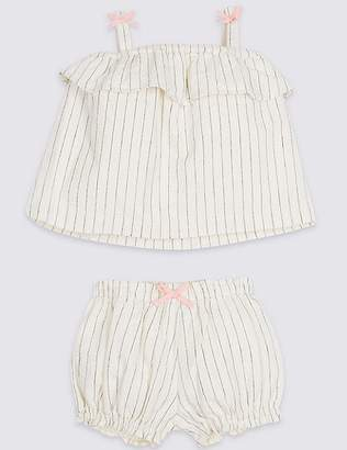 Marks and Spencer 2 Piece Textured Woven Top & Shorts Outfit