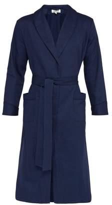 P. Le Moult - Herringbone Cotton Twill Robe - Mens - Navy