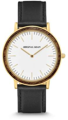 ORIGINAL GRAIN Minimalist Leather Strap Watch, 40mm