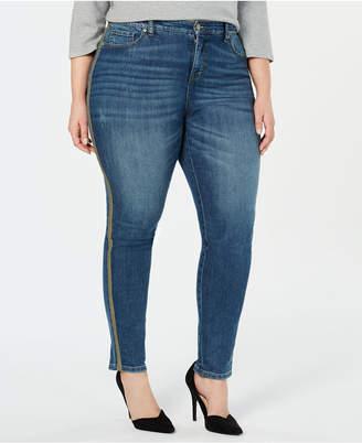 Style&Co. Style & Co Plus Size Metallic Side-Stripe Curvy Skinny Jeans