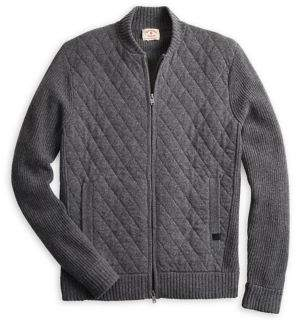Brooks Brothers Red Fleece Quilted Front Wool-Blend Bomber Jacket