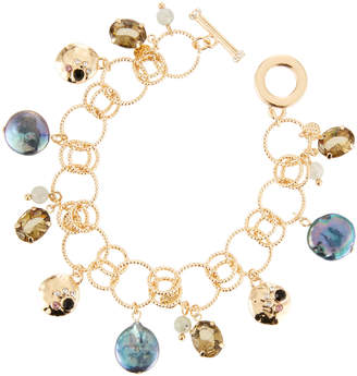 Lydell NYC Mixed-Stone Charm Bracelet