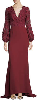 J. Mendel V-Neck Lace & Crepe Combo Gown