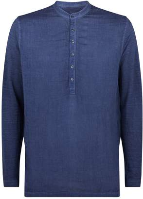 120% Lino 120 Lino Mandarin Collar Henley Shirt