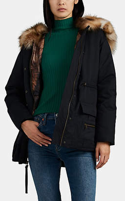 Mr & Mrs Italy Women's Fur-Trimmed Cinch-Waist Parka - Black