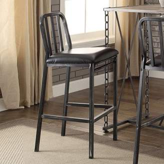 ACME Furniture ACME Jodie Bar Chair, Black PU and Antique Black, Set of 2