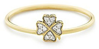 Loquet London Diamond 18k yellow gold four leaf clover ring