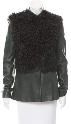 The Row Mongolian Lamb-Trimmed Leather Jacket
