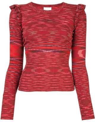 Cinq à Sept patterned ruffle detail sweater