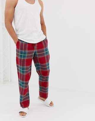 Jack Wills Blakebrook flannel check lounge pant in red