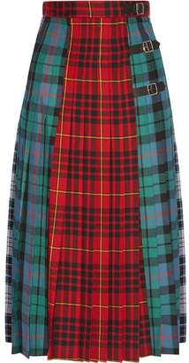 Gucci Pleated Tartan Wool Midi Skirt - Red