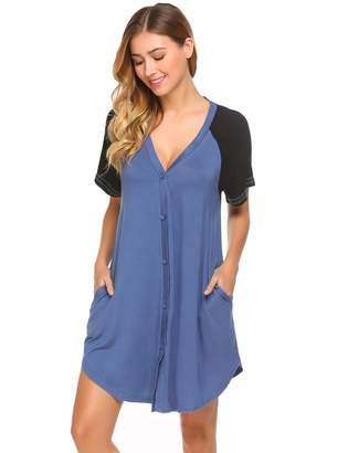 Ekouaer Button Nightgowns Women Boyfriend Sleeping Shirts Short Sleepwear f97f45d98
