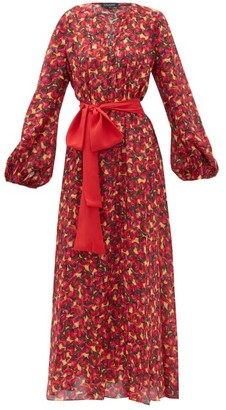 Saloni Lucia Cherry Print Silk Crepe Midi Dress - Womens - Orange Multi