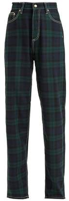 Eytys Benz High Waisted Tartan Jeans - Womens - Green Multi