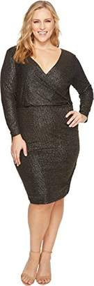 Sangria Women's Plus Size Metallic Wrap Dress