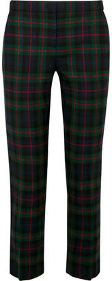 Burberry Checked Wool-blend Straight-leg Pants - Navy