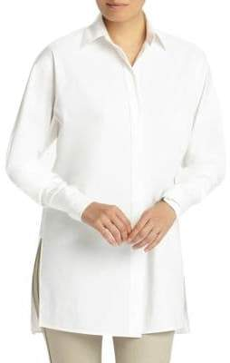 Lafayette 148 New York Victoria Side-Slit Button-Down Shirt