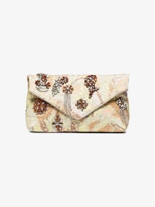 Dries Van Noten beige crystal embellished fabric clutch