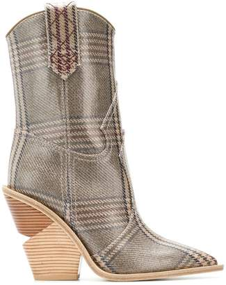 Fendi check pattern ankle boots