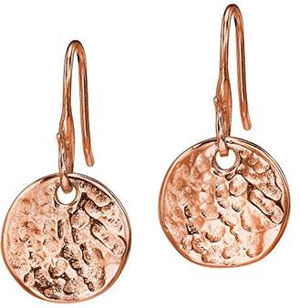 At Co Uk Dower Hall Nomad Rose Gold Plated On Sterling Silver Beaten Flat Disc Drop Earrings Of
