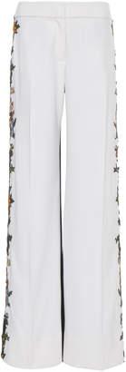 Oscar de la Renta Pant With Floral Embroidery At Side Seams
