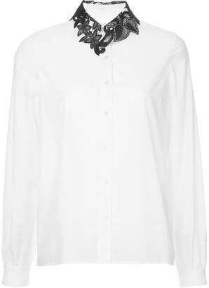 Kolor contrast lace collar shirt