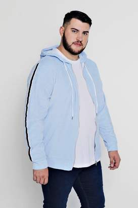 boohoo Big And Tall Side Stripe Velour Hoodie