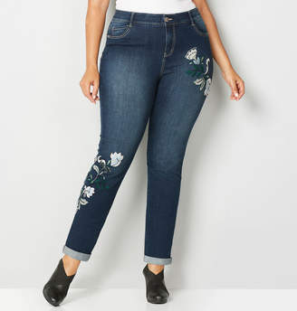 Avenue Embroidered Cuffed Flexi Fit Ankle Jean