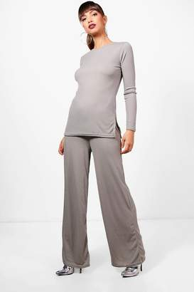 boohoo Wide Leg Side Split Tunic Knit Co-ord